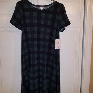 LuLaRoe XS Carly Dress Green Black Plaid NWT